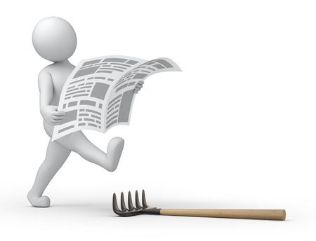 3d human reading newspaper wh=ile walking is about to step the rake