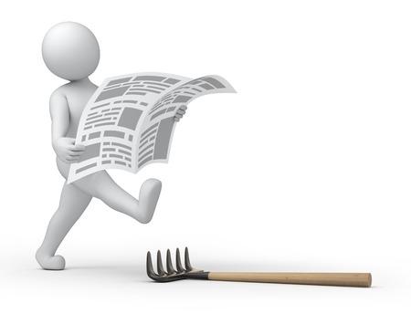 Krant 3d menselijke lezen wh = ile lopen is over de rake stap Stockfoto