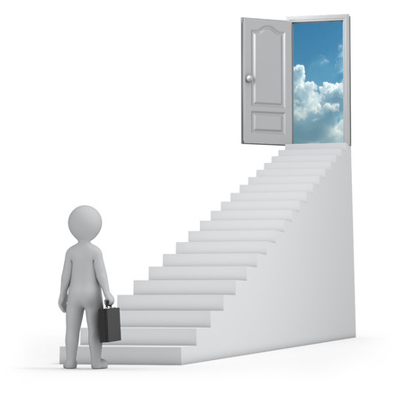 businessman and door to heaven, 3d image with work path photo