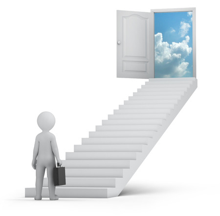 businessman and door to heaven, 3d image with work path Stock Photo