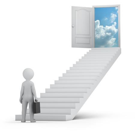 zakenman en deur naar de hemel, 3d beeld met tijdelijk pad