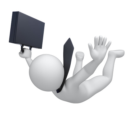 falling businessman, 3d image with work path