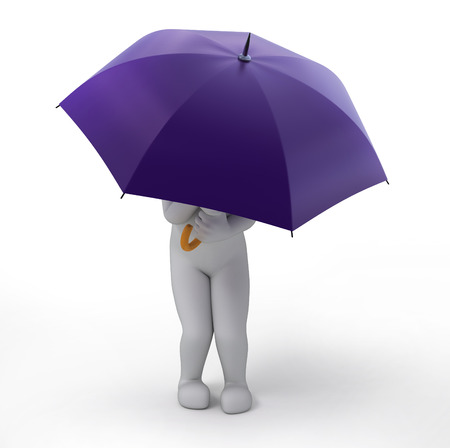 3d image: the violet umbrella , 3d image with work path Stock Photo
