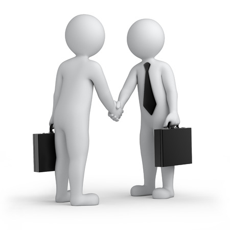 successful deal, two 3d human shaking hands, isolated on white with a work path