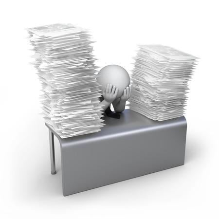för mycket arbete, 3d människa och högen av dokument 3d illustration med arbetsbana