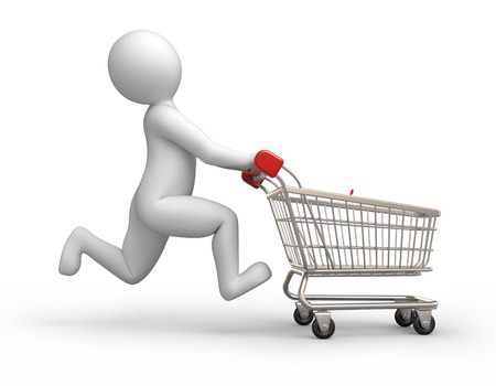 happy buyer, 3d human and shopping cart