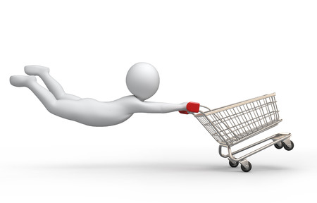 Sale, 3d human and shopping cart Stock Photo