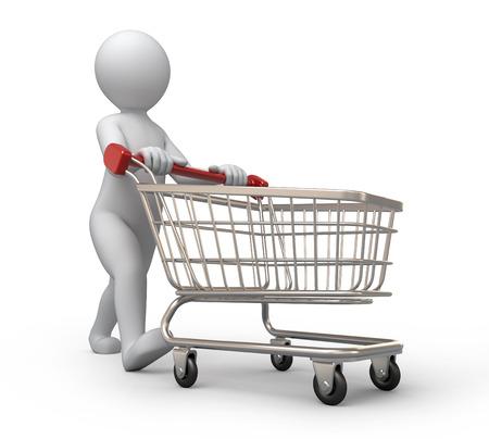 koper, 3d mens en winkelwagen Stockfoto