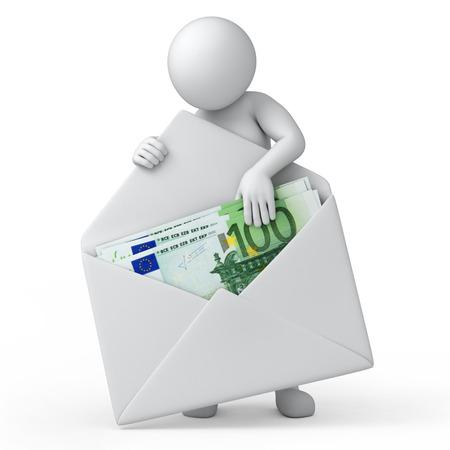 salaris, 3d mens en geld 3D-afbeelding met tijdelijk pad