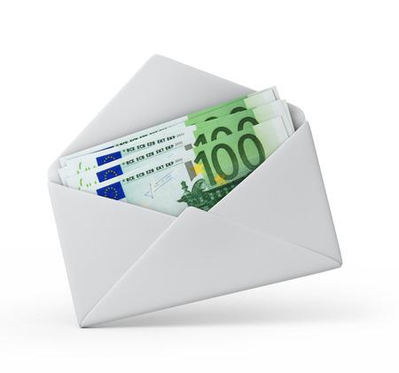 geld in een envelop, Euro versie 3d illustratie met tijdelijk pad
