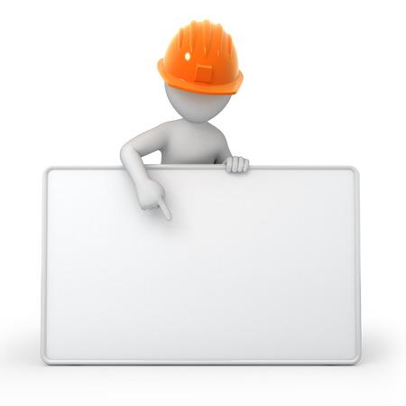 ingeniero caricatura: una imagen 3d tablero vac�o blanco con el trabajo camino cartelera, constructor y