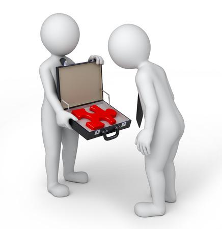 lösning i en resväska, 3D-bild med arbetsbana Stockfoto