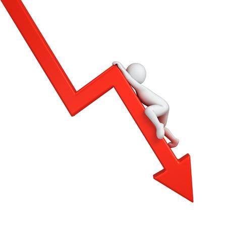 rode grafiek neer met klauteren 3d menselijke Stockfoto