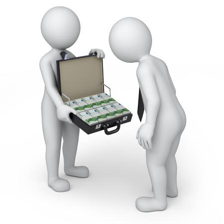 mucho dinero: salario, dos personas 3d y un montón de dinero trazado en versión euro Foto de archivo