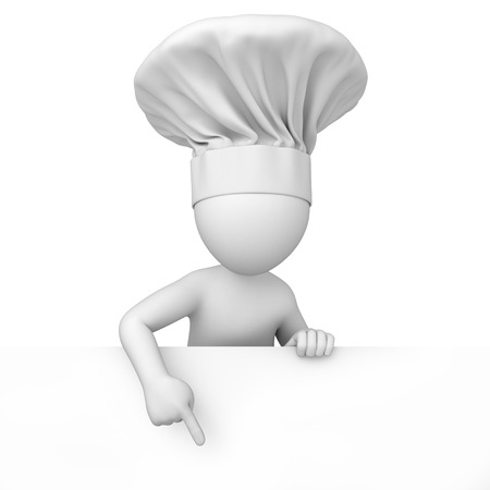 Chef, 3d human points a finger down  3d image with a work path