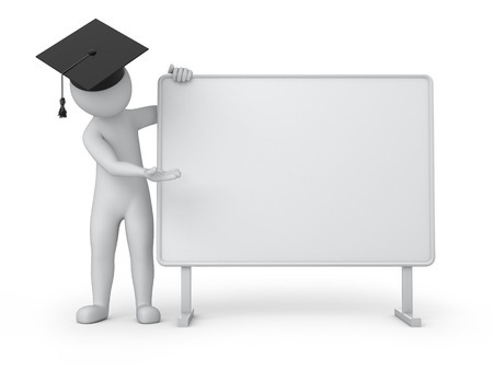 designate: graduate and empty board  3d image with a work path Stock Photo