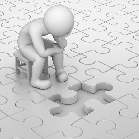 frustratie, 3d mens en een ontbrekende puzzelstukje