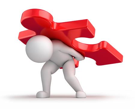 moeilijke oplossing, 3d mens en een grote rode puzzelstukje 3d beeld met tijdelijk pad