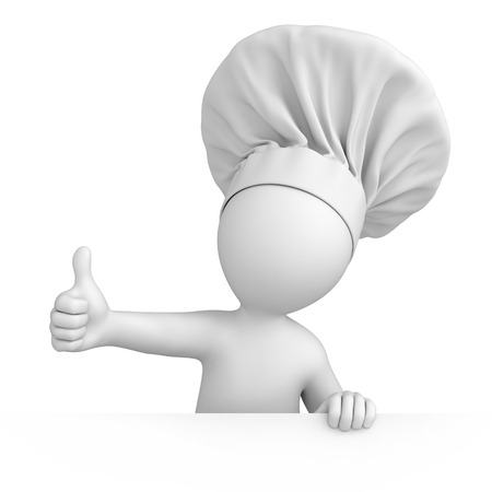 Chef with thumb up  3d image with a work path photo