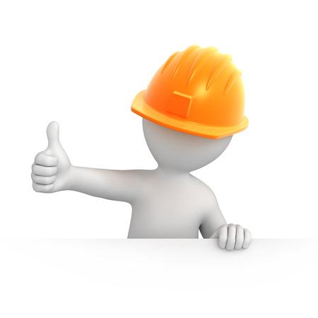 byggare med tummen upp 3D-bild med en arbetsbana Stockfoto