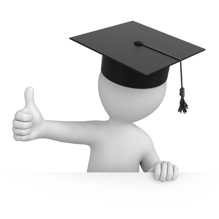 work path: graduate with thumb up  3d image with a work path