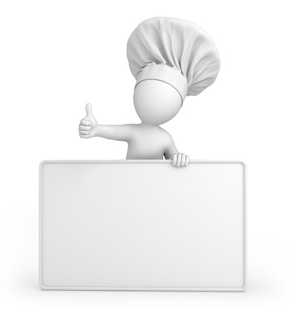 Chef with thumb up and empty billboard  image with a work path