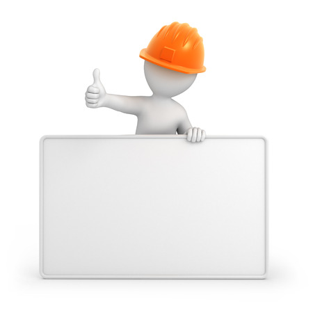 builder with thumb up  3d image with a work path