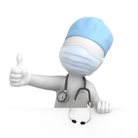 Happy arts met duim omhoog, 3d beeld met een tijdelijk pad Stockfoto