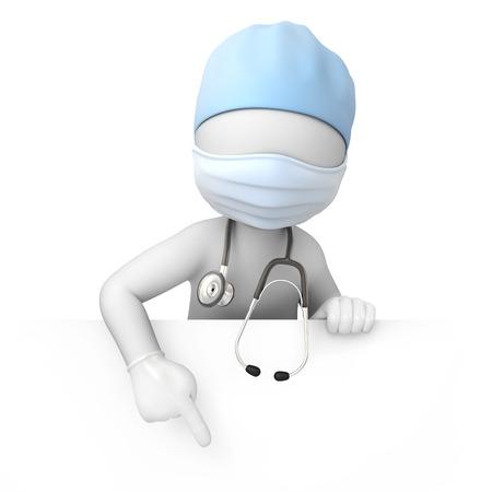 chirurg, 3d beeld met een tijdelijk pad