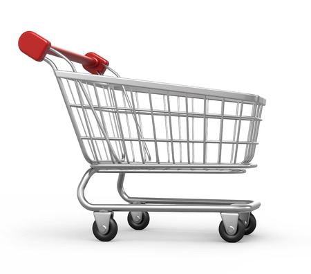work path: shopping cart, 3d image with work path Stock Photo