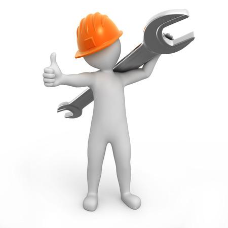 Werker mit Daumen nach oben und einem Schraubenschlüssel auf einer Schulter Bild mit einem Arbeitspfad Standard-Bild - 23766378