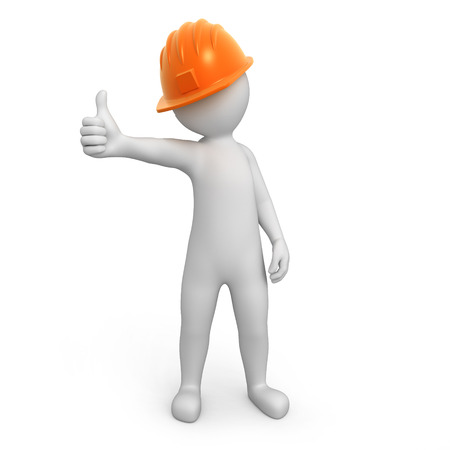 work path: worker with thumb up  3d image with a work path Stock Photo