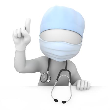 aandacht arts wijst omhoog vinger een met een tijdelijk pad