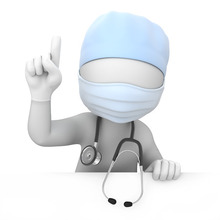surgical: attention  doctor points a finger up  image with a work path