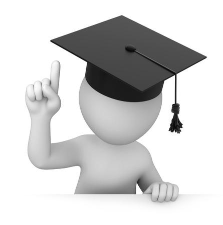 Aufmerksamkeit Graduate zeigt mit dem Finger nach oben Bild mit einem Arbeitspfad Standard-Bild - 23766695