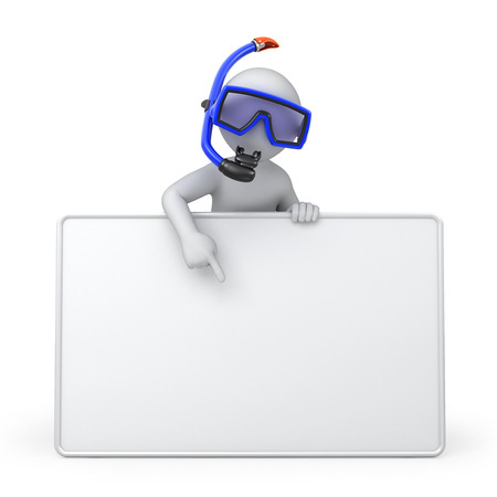 Diver with a blank board  image with a work path photo