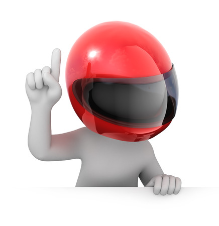 motorcycle helmet: racer points a finger up  image with a work path Stock Photo