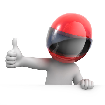 helmet: racer with thumb up  image with a work path