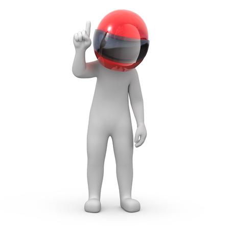 informatie voor racers 3d beeld vinger omhoog menselijk punten met een tijdelijk pad