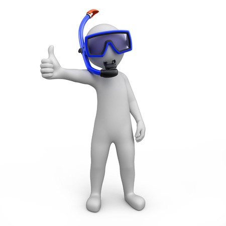 breathe: Diver with thumb up  image with a work path Stock Photo