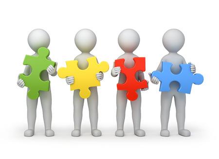 Teamarbeit, vier Personen mit verschiedenen Rätseln, 3D-Bild mit der Arbeit Pfad Standard-Bild - 23767101