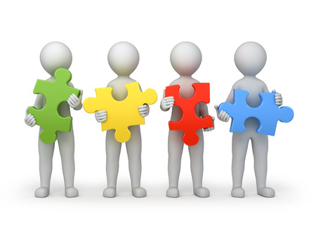 teamwork, vier personen met verschillende puzzels, 3d beeld met tijdelijk pad
