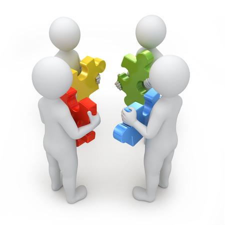 Teamarbeit, vier Menschen 3d mit verschiedenen Puzzles, Bild mit der Arbeit Pfad Standard-Bild - 23768611