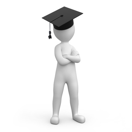 strict: strict graduate, image with a work path Stock Photo