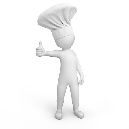 work path: Chef with thumb up  3d image with a work path
