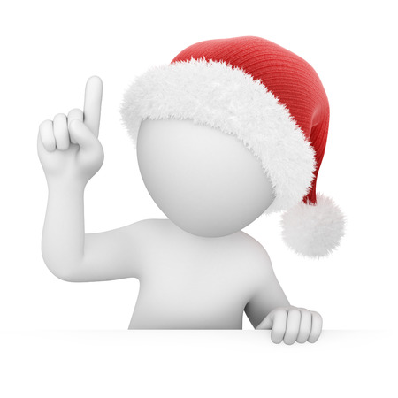 abstact: Santa points a finger up, image with a work path