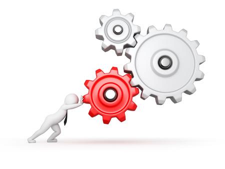zakenman en mechanisme, geïsoleerd op wit