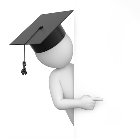 graduate points a finger  image with a work path Stock Photo