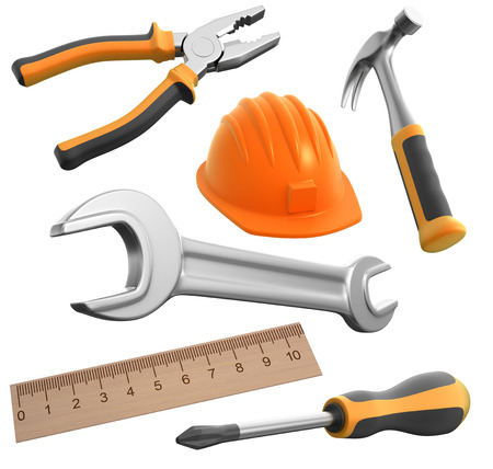 work path: work tools, 3d render with a work path Stock Photo