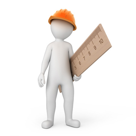 worker with a ruler  image with a work path photo
